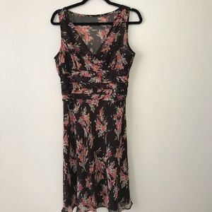 LOFT Floral Dress (Brown Background) Size 8